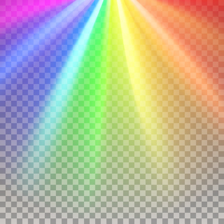 Rainbow rays. Color spectrum flare. Glaring effect with transparency. Abstract glowing light background. Ready to apply. Graphic element for documents, templates, posters, flyers. Vector illustration Illustration