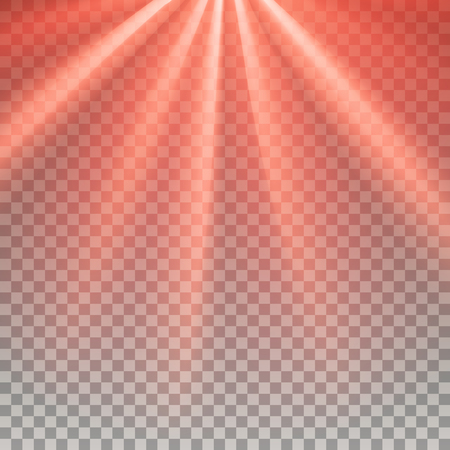 glaring: Red flare. Laser light. Glaring effect with transparency. Abstract glowing light background. Ready to apply. Graphic element for documents, templates, posters, flyers. Vector illustration