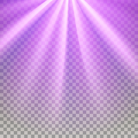 glaring: Purple flare rays. Violet vibrant color. Glaring effect with transparency. Abstract glowing light background. Ready to apply. Graphic element for documents, templates, posters, flyers. Vector illustration