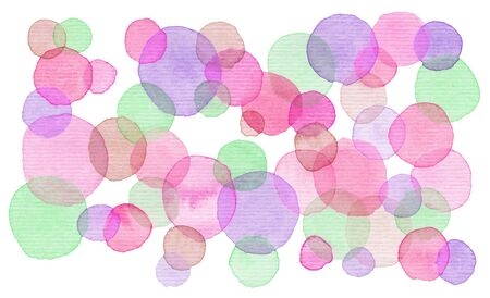 Hand painted watercolor background. Bright circles. Abstract spring summer season background. Round graphic design element isolated on white. Hand painted illustration.