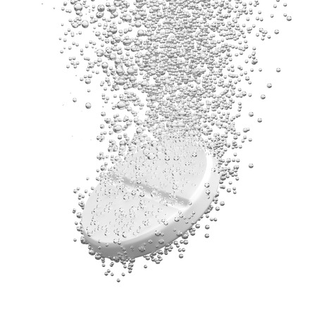 fizzy tablet: Effervescent medicine. Fizzy tablet dissolving. White round pill falling in water with bubbles. White background. 3D illustration