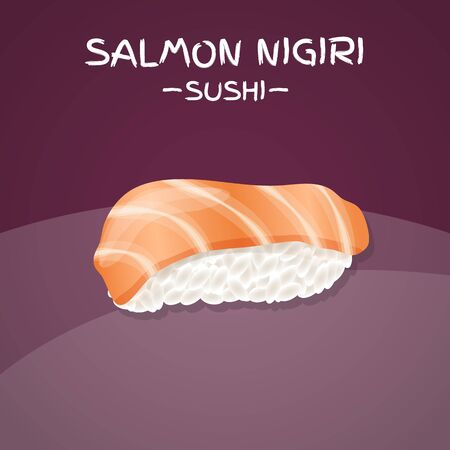japanese cuisine: Salmon Nigiri Sushi. Realistic style sushi with rice and salmon fish. Japanese cuisine poster. Vector illustration