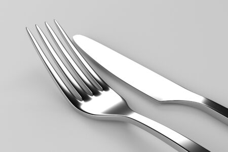 printables: Fork and knife on grey. Photo realistic 3D illustration. Cutlery, kitchen silverware. For use in menu, restaurant printables, web site.