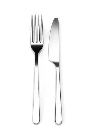 printables: Fork and knife isolated on white background. Photo realistic 3D illustration. Cutlery, kitchen silverware. For use in menu, restaurant printables, web site. Stock Photo
