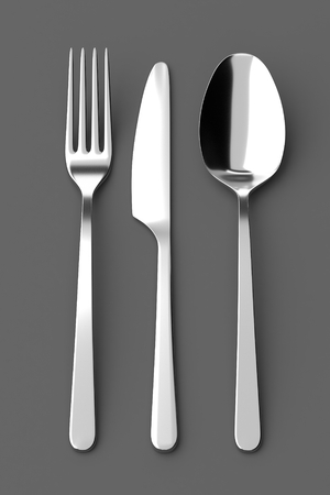 printables: Fork, spoon and knife. Photo realistic 3D illustration. Cutlery, kitchen silverware. For use in menu, restaurant printables, web site.