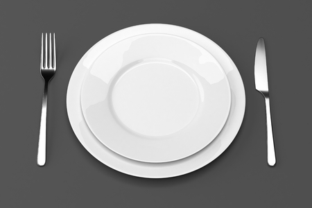 printables: Fork and knife with plates. Serving table. Two empty plates ready for food. Photo realistic 3D illustration. Cutlery, kitchen silverware. For use in menu, restaurant printables, web site.