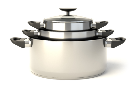 stewing: Stainless steel pots on white background. Set of three stacked cooking pots with glass see through lids. 3D illustration.