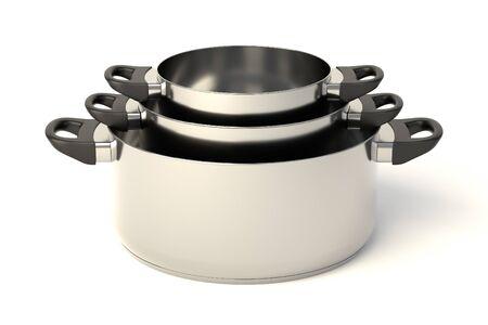 Roestvrij stalen potten op een witte achtergrond. Set van drie gestapelde pannen zonder deksel. 3D-afbeelding.