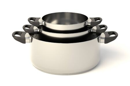 saute: Stainless steel pots on white background. Set of three stacked cooking pots without lids. 3D illustration.