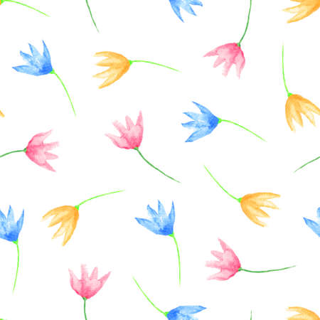 printables: Seamless floral pattern. Hand painted scattered watercolor flowers. Graphic element for baby shower or wedding invitations, birthday card, printables, wallpaper, scrapbooking. Hand painted illustration.