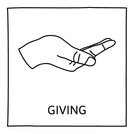 DAR icono del Doodle. Dibujado a mano símbolo gesto. Línea de estilo art elemento de diseño gráfico. Dar, compartir, la caridad, extendiendo la mano para el concepto de ayuda.