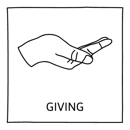 give out: Doodle GIVE icon. Hand drawn gesture symbol. Line art style graphic design element. Giving, sharing, charity, reaching out for help concept.