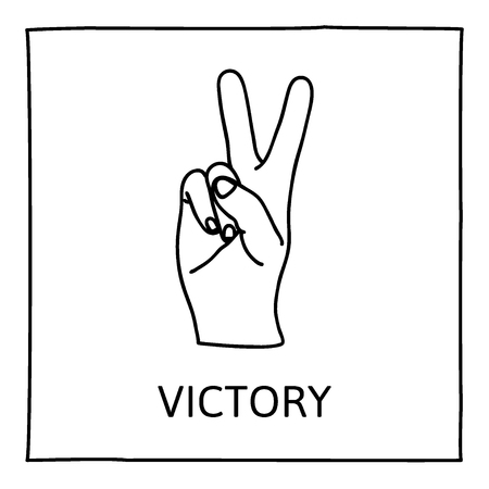 hand position: Doodle PEACE and VICTORY icon. Hand drawn gesture symbol. Line art style graphic design element. Success, pacifist, political position concept. Illustration