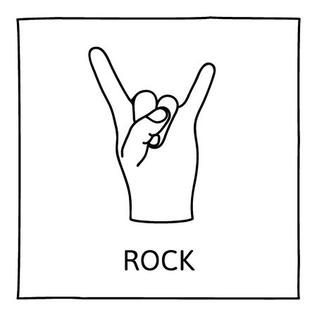 heavy metal: Doodle ROCK icon. Hand drawn gesture symbol. Line art style graphic design element. Heavy metal music, devils horns gesture concept.