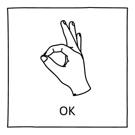 approval icon: Doodle OK icon. Hand drawn gesture symbol. Line art style graphic design element. Approval, vote, love, favorite gesture concept.