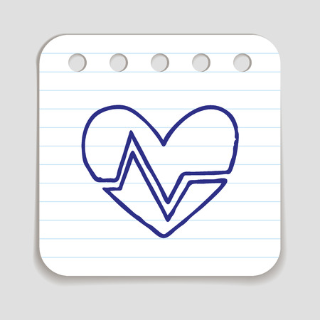 cardiograph: Doodle HEART RATE icon. Blue pen hand drawn infographic symbol on a notepaper piece. Line art style graphic design element. Web button with shadow. Cardiogram, heart beat concept. Stock Photo