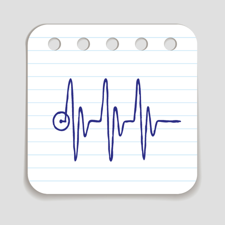 blue pen: Doodle HEART RATE icon. Blue pen hand drawn infographic symbol on a notepaper piece. Line art style graphic design element. Web button with shadow. Cardiogram, heart beat concept. Stock Photo