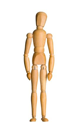 manequin: Wooden mannequin, standing doll. Isolated on white