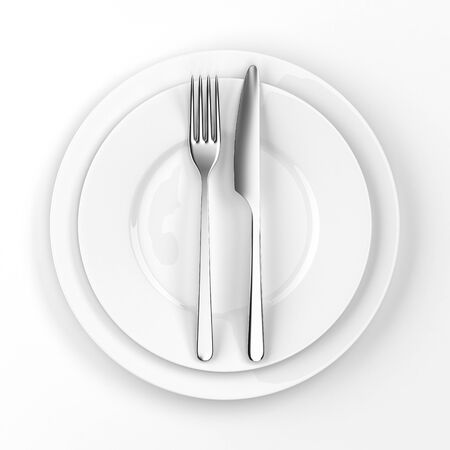 setting table: Fork and knife with plates. Serving table. Two empty plates ready for food.