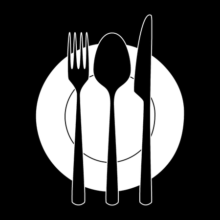 fork knife: Fork, knife and spoon on a plate.