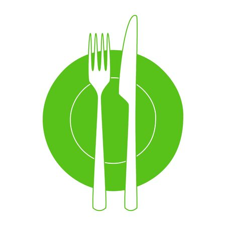 setting table: Fork and knife on a plate.