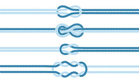 Jeu de séparateurs de n?uds marins. Signe de l'infini corde nautique. Bordure de corde. Attacher le noeud. Vecteurs
