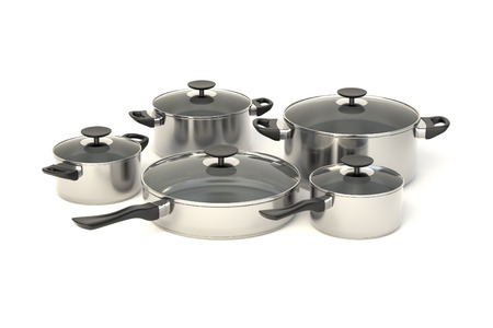 lids: Stainless steel pots and pans on white background. Set of five cooking kitchenware with glass see through lids. 3D illustration.