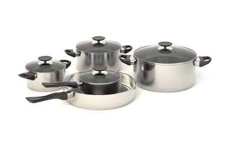 stewing: Stainless steel pots and pans on white background. Set of five cooking kitchenware with glass see through lids. 3D illustration.