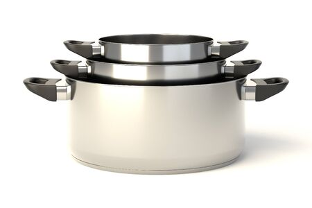 Stainless steel pots on white background. Set of three stacked cooking pots without lids. 3D illustration.