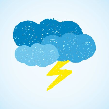 dark clouds: Dark clouds and lightning. painted with oil pastel crayons. Weather forecast, autumn, climate, meteorology concept. Graphic design element for poster, greeting card, scrapbooking, children book