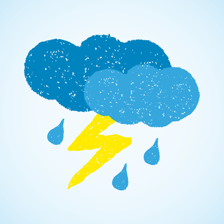 dark clouds: Dark clouds, rain and lightning. painted with oil pastel crayons. Weather forecast, autumn, climate, meteorology concept. Graphic design element for poster, greeting card, scrapbooking, children book