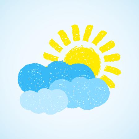 Sole e nuvole. dipinta con pastelli a olio pastello. Previsioni del tempo, d'estate, il clima, il concetto di meteorologia. elemento grafico di design per poster, cartolina d'auguri, scrapbooking, libri per bambini