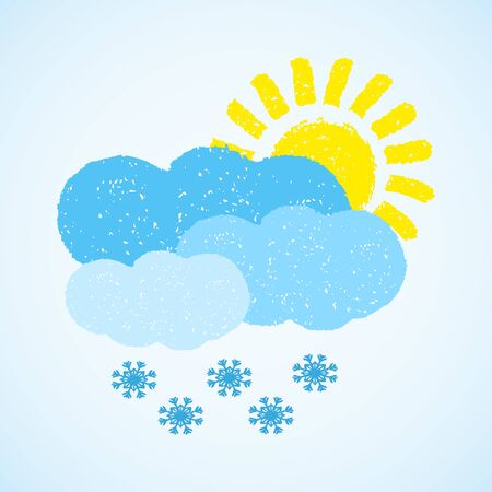 Sun, cloud and snow. painted with oil pastel crayons. Weather forecast, winter, climate, meteorology concept. Graphic design element for poster, greeting card, scrapbooking, children book