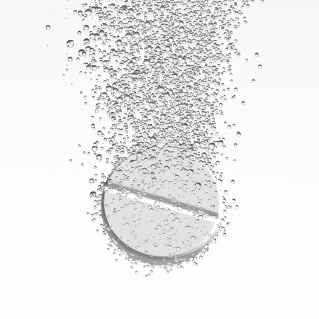 dissolving: Effervescent medicine. Fizzy tablet dissolving. White round pill falling in water with bubbles. White background. 3D illustration