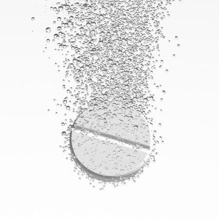 Médecine effervescent. Fizzy dissolution du comprimé. pillule ronde blanche tombant dans l'eau avec des bulles. Fond blanc. illustration 3D Banque d'images - 60676183