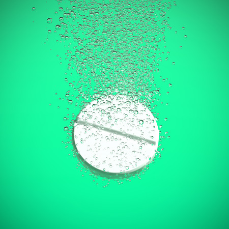 fizzy tablet: Effervescent medicine. Fizzy tablet dissolving. White round pill falling in water with bubbles. Green background. 3D illustration Stock Photo