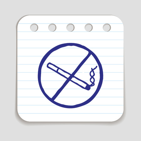 blue pen: No smoking doodle icon. Stop smoking sign. Blue pen  infographic symbol on a notepaper piece. Line art style graphic design element. illustration.