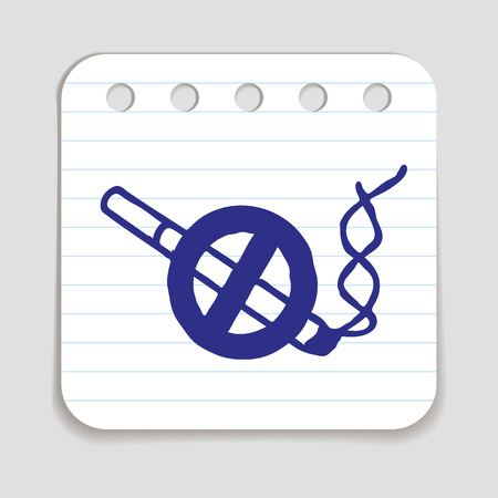 blue pen: No smoking doodle icon. Stop smoking sign. Blue pen infographic symbol on a notepaper piece. Line art style graphic design element. illustration. Illustration