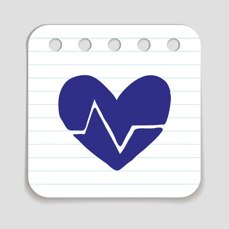 cardiograph: Doodle HEART RATE icon. Blue pen  infographic symbol on a notepaper piece. Line art style graphic design element. Web button with shadow. Cardiogram, heart beat concept.