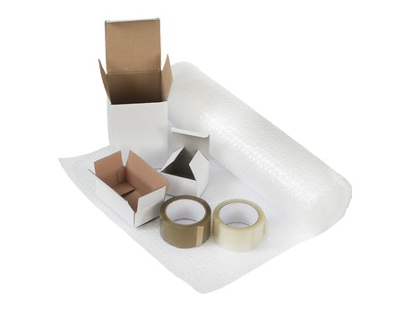 sealing tape: Cardboard boxes set. Packing and shipping concept