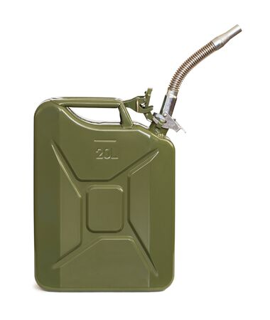 Jerrycan with flexi pipe spout isolated on white. Stock Photo