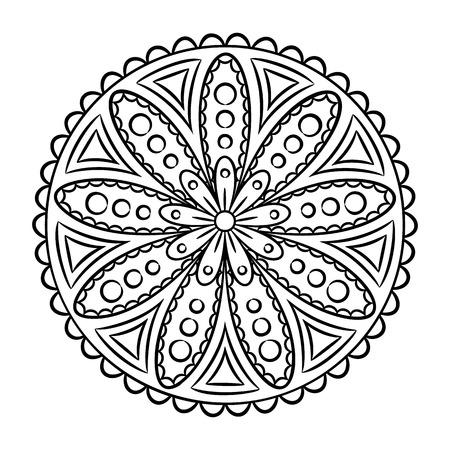 Photo Stock Vector Doodle Mandala Coloring Page Outline Floral Design Element Book Pattern Decorative Round