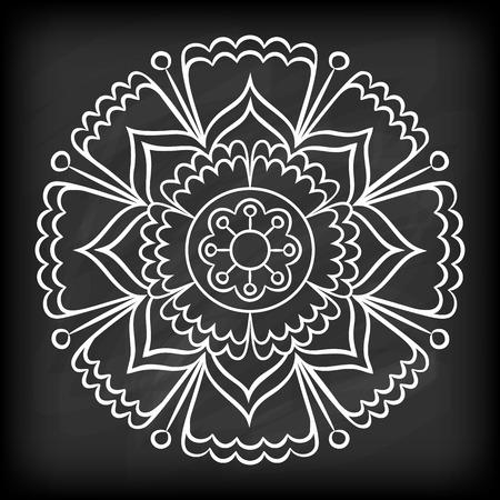 Doodle Mandala Flower On Chalkboard Outline Floral Design Element Coloring Book Pattern Decorative