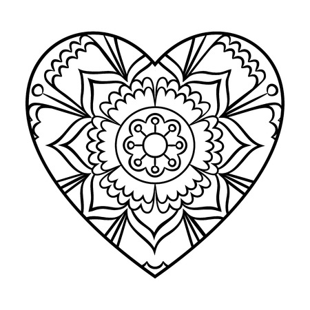 Doodle Heart Mandala Coloring Page Outline Floral Design Element In A Shape