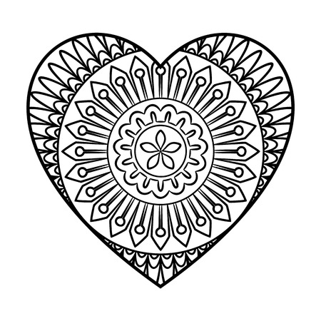 positive energy: Doodle heart mandala coloring page. Outline floral design element in a heart shape. Coloring book pattern. Decorative round flower.Love, acceptance, positive energy concept. illustration. Illustration