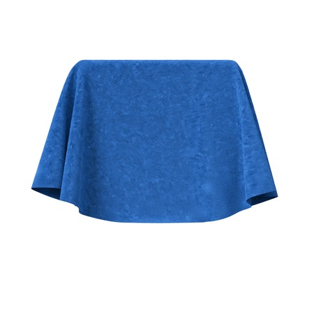 blue velvet: Box covered with blue velvet fabric. Isolated on white background. Surprise, award, presentation concept. Reveal the hidden object. Raise the curtain. Photo realistic 3D illustration. Stock Photo
