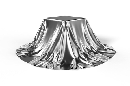 reveal: Box covered with silver fabric. Isolated on white background. Surprise, award, prize, presentation concept. Showroom stand. Reveal a hidden object. Raise the curtain. Photo realistic 3d illustration