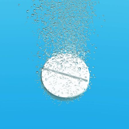 fizzy tablet: Effervescent medicine. Fizzy tablet dissolving. White round pill falling in water with bubbles. Blue background. 3D illustration Stock Photo