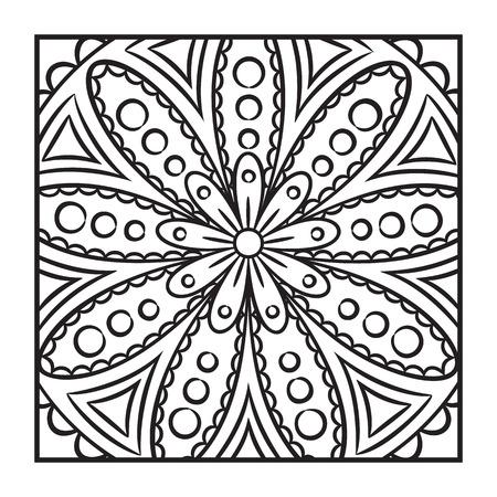 Doodle Mandala Coloring Page Outline Floral Design Element