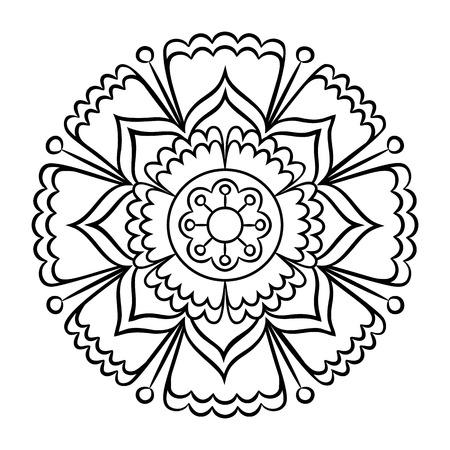 Doodle Mandala Coloring Page Outline Floral Design Element Book Pattern Decorative Round